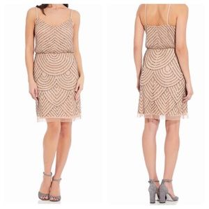 Adrianna Papell  blush gold beaded sequin dress